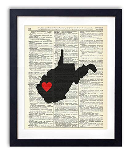 West Virginia Capital With Heart Upcycled Vintage Dictionary Art Print ()