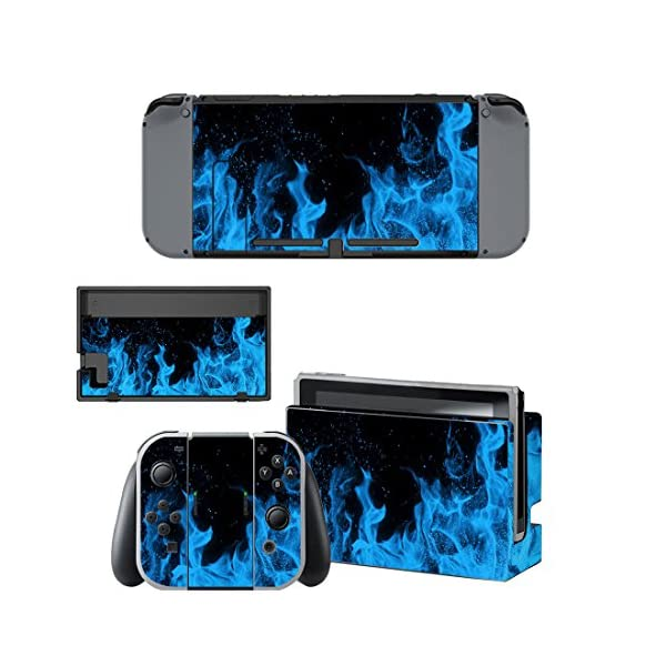 eXtremeRate Full Set Faceplate Skin Decal Stickers for Nintendo Switch with 2Pcs Screen Protector (Console & Joy-con & Dock & Grip) (Blue Flame) 2