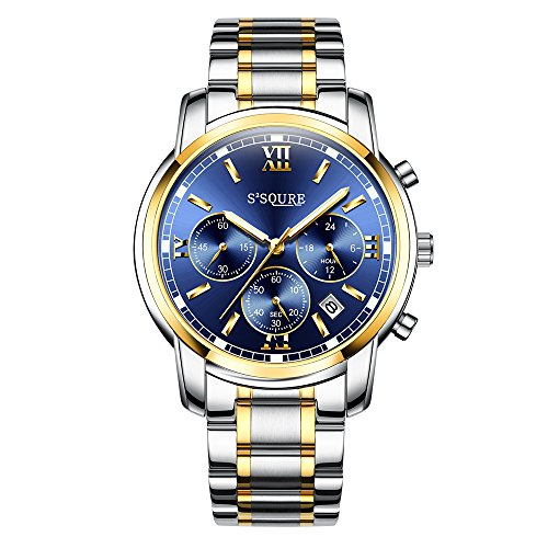 Mens Golden Silver 2 Tone Metal Quartz Watch with Chronograph Function Date and 24 Hours Display Blue Dial Soure Luxury Style