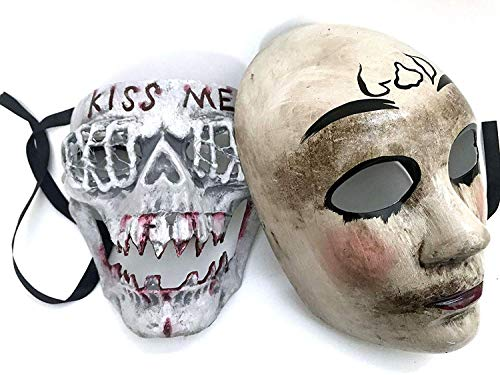 MASQSTUDIO The Purge Mask Pair Anarchy Purge Men Women Movie Horror Purge Killer Masked Men Halloween Costume Party -