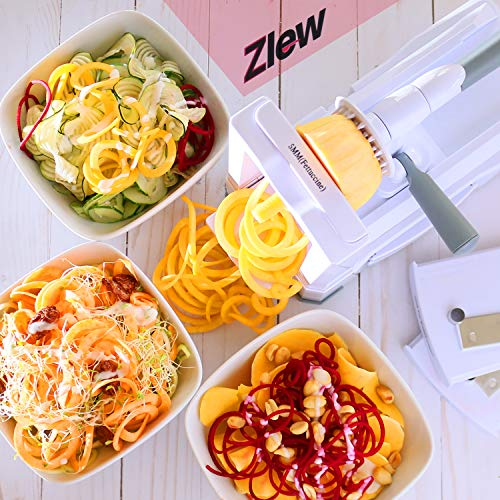10-Blade Spiralizer Vegetable Slicer Strongest Heaviest Duty Veggie Pasta Spaghetti Maker for Healthy Low Carb/Paleo/Gluten-Free Meals with Blade Caddy, Container, Lid & Exclusive Recipe Book by Zlew by ZLEW (Image #7)
