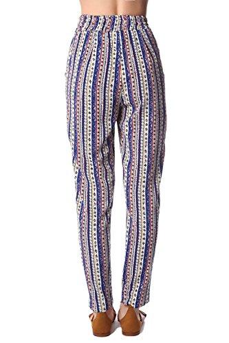 Q2 Mujer Pantalones de pernera ancha con estampado azteca en azul