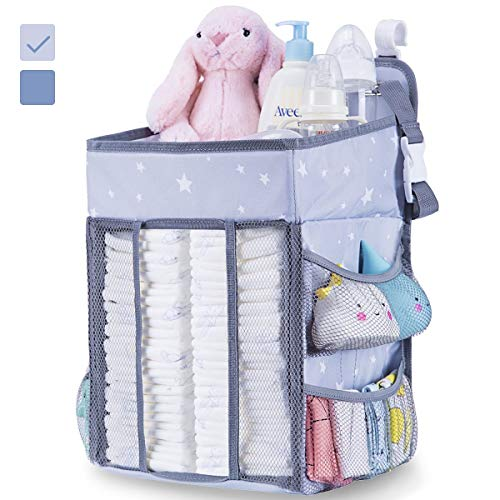 Diaper Caddy Organizer for Changing Table - Hanging Diaper Stacker for Nursery Organization | Crib Side Organizer | Newborn Baby Shower Gifts Light Grey