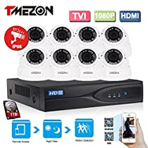 TMEZON 1080P HD-TVI + DVR Video Security System 8CH 1080P DVR with 8x HD 1920TVL 2.0 MegaPixels 2.8-12mm Weatherproof CCTV Camera and 1TB HDD