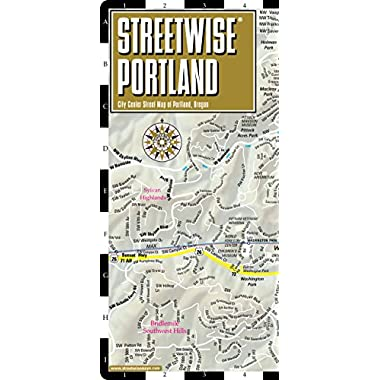 Streetwise Portland Map - Laminated City Center Street Map of Portland, Oregon - Folding pocket size travel map with Max Light Rail map