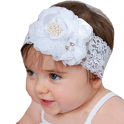 - Miugle Baby Girl Lace Headbands with Flowers,White,14