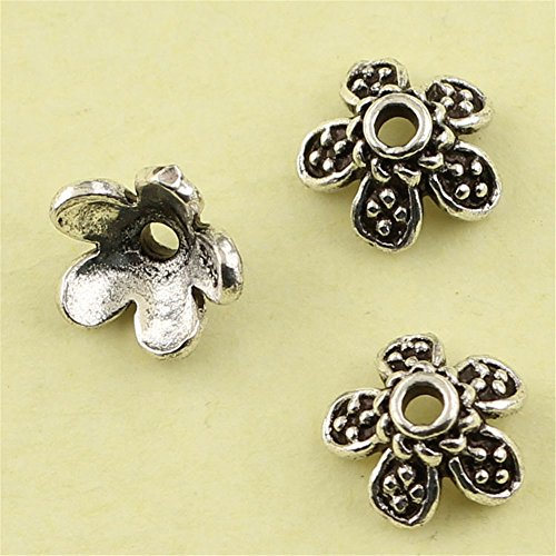 MFMei Antique Style Sterling Silver Bead Caps, 5-petal Flower Caps (CY030)