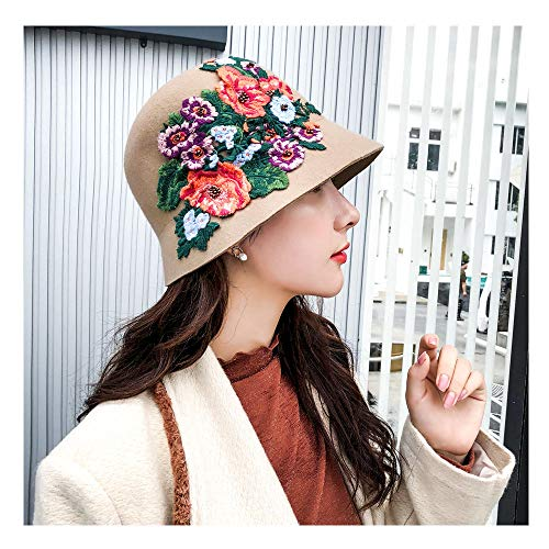 - Happy-L Hat, 2018 New National Style Female Fedoras Wool Felt Hat Hand-Crocheted Peony Floral Dome Bucket Fedora Hats for Women,Leisure Fashion Cap. (Color : Tan, Size : 56-58cm)