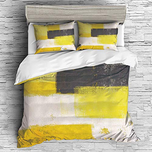 Cotton Duvet Cover 4 Pcs Comforter Cover Set Breathable and Skin-Friendly Bedding Set(Queen Size) Grey and Yellow,Abstract Grunge Style Brushstrokes Painting Style,White Charcoal Grey and Light Yello]()