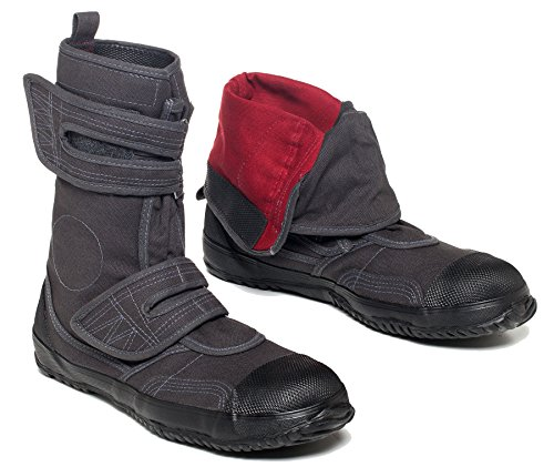 fugu Sa-Me Japanese Vegan Boots Most Comfortable Boots: Great Hiking, Work and Fashion Boots - Sturdy Stylish Lightweight Canvas Velcro Mid-Calf Boots with Rubber Sole Grey