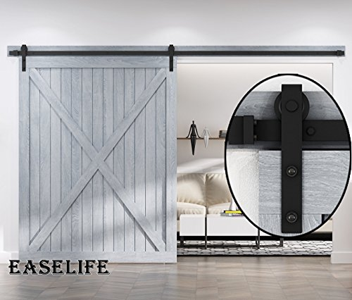 10 FT Heavy Duty Sliding Barn Door Hardware for Wide Opening and Two Openings(10ft Single Door Kit) by EaseLife