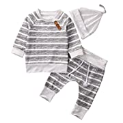 Baby Clothing Sets 2017 Autumn Newborn Boys Girls Clothes Infant Striped Tops T-shirt Pants Leggings Outfits Set (3-6 Months, Grey)