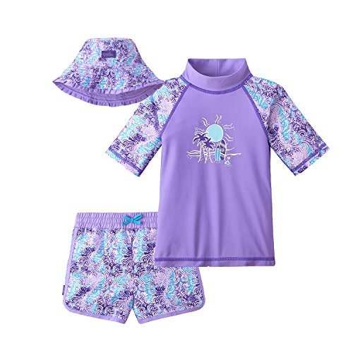 - UV SKINZ UPF 50+ Girls 3-Piece Swim Set - Lavender Sunset - 12/18m