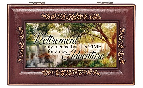 (Retirement Wooded Pond Scene Rose Wood Finish Jewelry Music Box Plays Canon in D)