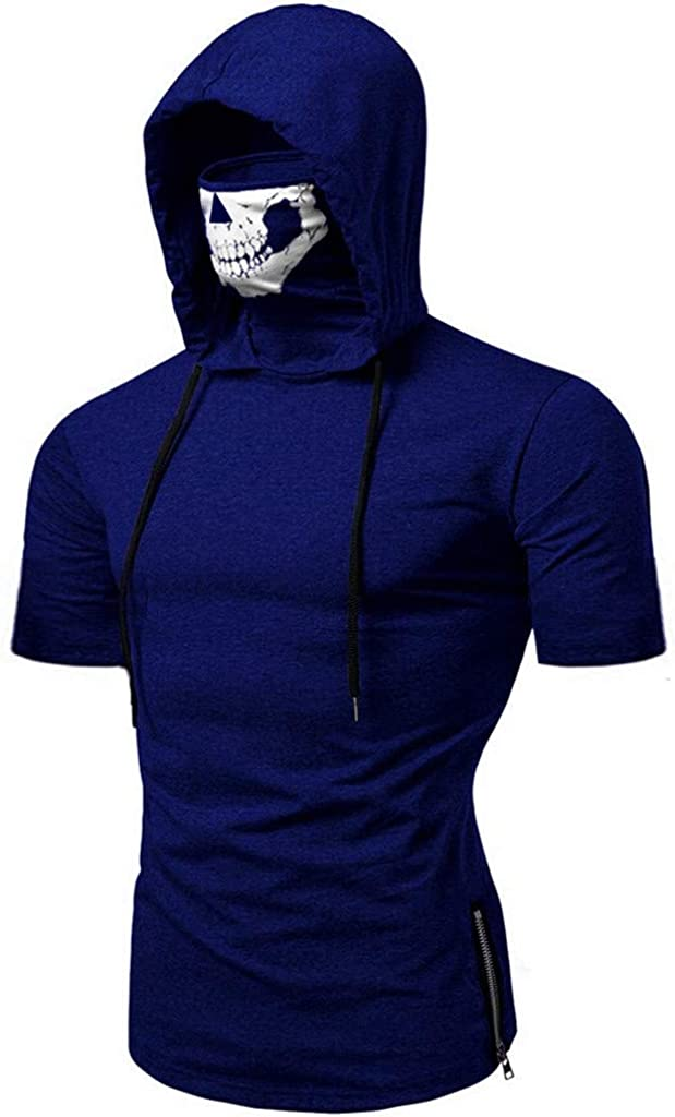 Easytoy Men Shirt Men Mask Skull Printing Splice Casual Fashion Lapel Short Sleeve Shirt