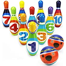 Kids Bowling Play Set, Foam Ball Toy Gifts, Educational, Early Development, Sport, Indoor Toys, 10 Pins and 2 Balls for Ages 2, 3, 4, 5 Year Olds Children, Toddlers, Boys, Girls - iPlay, iLearn