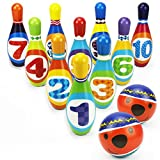 iPlay iLearn Kids Bowling Play Set, Foam Ball Toy Gifts, Educational, Early Development, Sport, Indoor Toys, 10 Pins 2 Balls Ages 2, 3, 4, 5 Year Olds Children, Toddlers, Boys, Girls