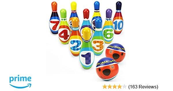 Ball Toy Gifts Educational Early Development Sport Indoor Toys 10 Pins And 2 Balls For Ages 3 4 5 Years Old Children Toddlers Boys Girls