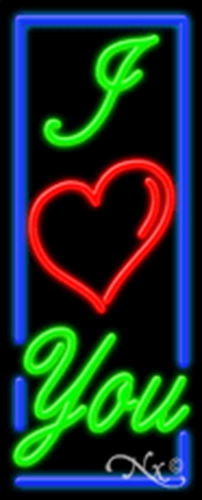13x32x3 inches I Love You NEON Advertising Window Sign by Light Master (Image #1)