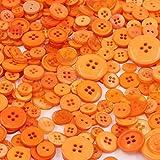 Esoca 650Pcs Orange Buttons for Crafts Assortment Orange Craft Buttons Bulk Assorted Art Buttons for Arts, DIY Crafts, Christmas Decoration
