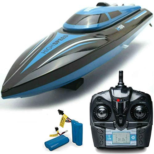SkyCo H100 Rc Boat 2.4GHz High Speed Remote Control Electric RC Racing Boats Toy for Kids Men Girls Adults Pool Lake Outdoor Use Bonus Extra Battery (H100)
