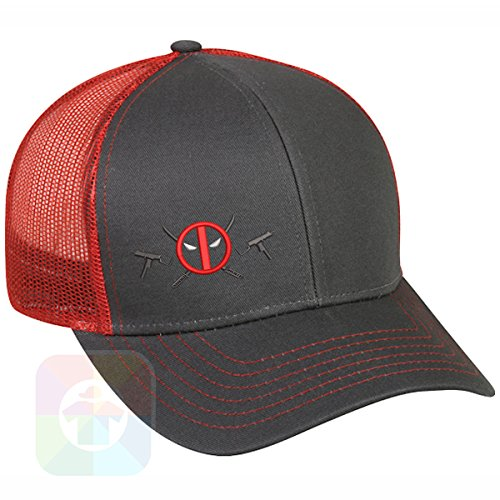 Custom Tshirts and Hats Deadpool Logo with Weapons Structured Snapback Baseball Mesh Hat Cap #1065 ()