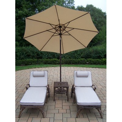 Oakland Living Elite Cast Aluminum 2 Cushioned Chaise Lounges with 18-Inch Side Table Plus 9-Feet Tilt Beige Umbrella and Stand