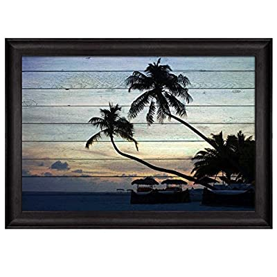 That's 100% USA Made, Majestic Portrait, Palm Trees on an Island with Huts as The Sun Sets with Wood Panels Overlaying it Nature Framed Art