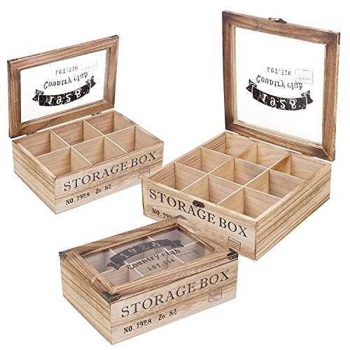 EG Homeware Wooden Tea Storage Box Glass Lid- Choice Of 6 Or 9 Compartements (9 Compartments) by EG Homeware (Image #2)
