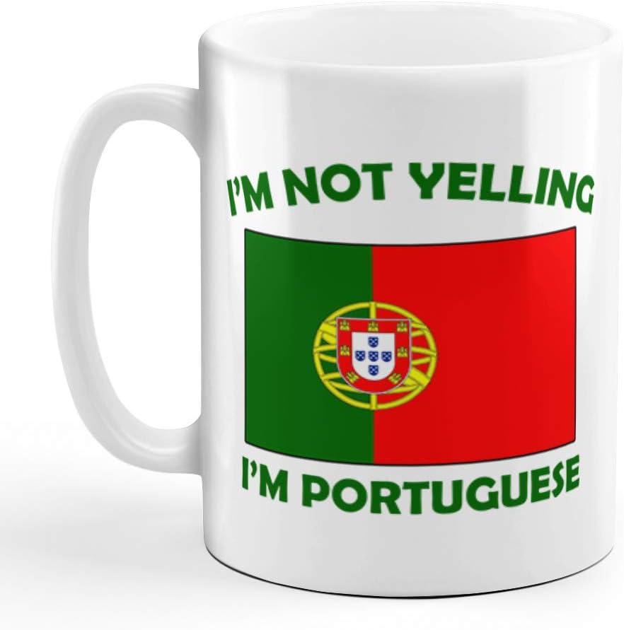 I'M Not Yelling I Am Portuguese Portugal Portuguese Ceramic Coffee Tea Mug Cup Holiday Christmas Hanukkah Gift For Men & Women