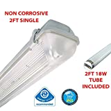 2FT SINGLE 18 WATT NON CORROSIVE WEATHERPROOF FLUORESCENT LIGHT FITTING (INCLUDES TUBE) - IP65 - WEATHERPROOF OUTDOOR STRIP LIGHT - IDEAL FOR GARAGES, WORKSHOP, SHEDS, GREENHOUSES OR COMMERCIAL APPLICATIONS - STURDY CONSTRUCTION - POLYCARBONATE DIFFUSER - HIGH FREQUENCY TRIDONIC CONTROL GEAR - BRANDED - 2 YEAR GUARANTEE