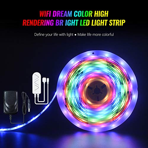 Smart WiFi LED Strip Lights Smart Tape Lights Work with Alexa, Google Home RGB Color Lights with Remote or App Control WiFi Light Strip Sync to Music Fit for TV Bedroom Party Home Decor (32.8 Feet)