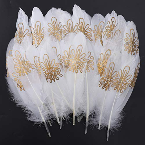 Feathers for Crafts, 40 Pcs Goose Gold Dipped Natural White/Black Feathers for Hair Clip Necklace DIY Dream Catchers Earrings Craft Trim Wedding Costume Themed Party Centerpieces Decorations-B -
