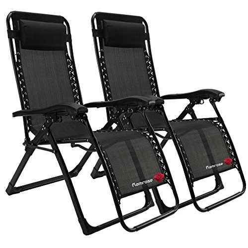 FLAMROSE Patio Chairs with Pillow Zero Gravity Lounge Chair Beach Outdoor Lawn Recliners Black (Case of 2) by FLAMROSE