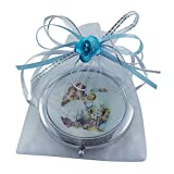 Baptism Party Favors for Boy 12 PCS/ Recuerdos de Bautizo / Baby Angels Makeup Compact Mirrors with Decorated Pouches