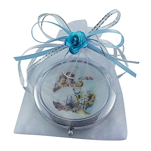Baptism Party Favors for Boy 12 PCS/ Recuerdos de Bautizo / Baby Angels Makeup Compact Mirrors with Decorated Pouches by WE