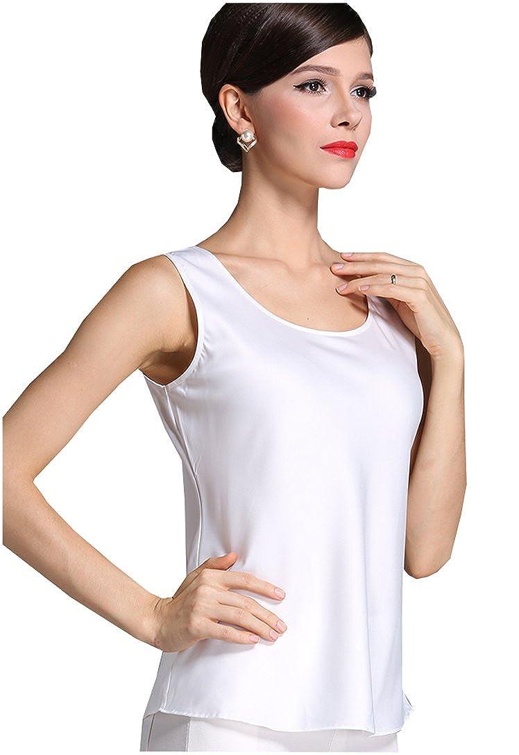7726bd022ee69 Fashion Silk Women s Shirts Blouse Silk Tank Tops at Amazon Women s  Clothing store