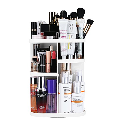 KEDSUM Makeup Organizer, 360 Degree Rotating Cosmetics Storage Box, Multi-Function Makeup Holder with DIY Adjustable Tray, Large Capacity, Fits for Lots of Cosmetics and Accessories, White by KEDSUM