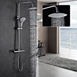 ROVATE Bathroom Thermostatic Rain Mixer Shower Combo Set Wall Mounted Height Adjustable Rainfall Shower Head System Polished Chrome