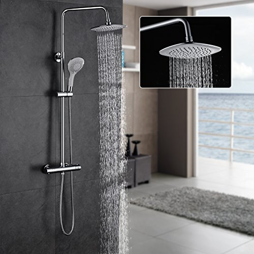 ROVATE Bathroom Thermostatic Rain Mixer Shower Combo Set Wall Mounted Height Adjustable Rainfall Shower Head System Polished Chrome - 1 Polished Chrome Angle