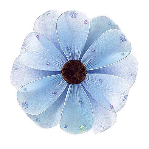 The Butterfly Grove Madison Flower Decoration 3D Hanging Mesh Organza Nylon Artificial Decor, Hawaiian Blue, Medium, 10
