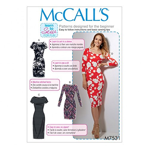 McCalls Ladies Easy Learn to Sew Sewing Pattern 7531 Knit Bodycon Dresses by McCall's