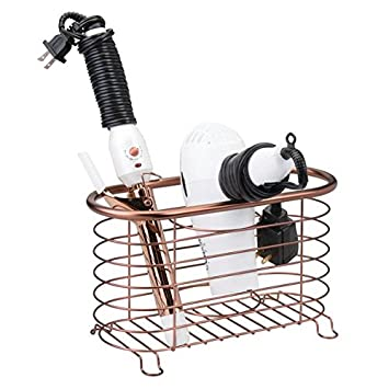 cepillos y otros productos de peluquer/ía bronce Cesta de rejilla de metal para el ba/ño mDesign Soporte para secador de pelo de pie y sin taladro secador Soporte para plancha de pelo