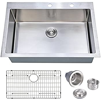 33 X 22 Inch Handcrafted Topmount Single Bowl 16 Gauge Stainless Steel Kitchen  Sink With Grid