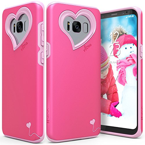 Galaxy S8 Case, Vena [vLove][Heart-Shape | Dual Layer Protection] Hybrid Bumper Cover for Samsung Galaxy S8 (Hot Pink/Rose Pink)
