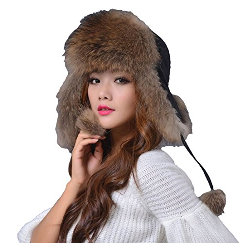 King Star Women's Winter Trapper Bomber Hat Genuine Fox Raccoon Fur Russian Ushanka Hat Brwon