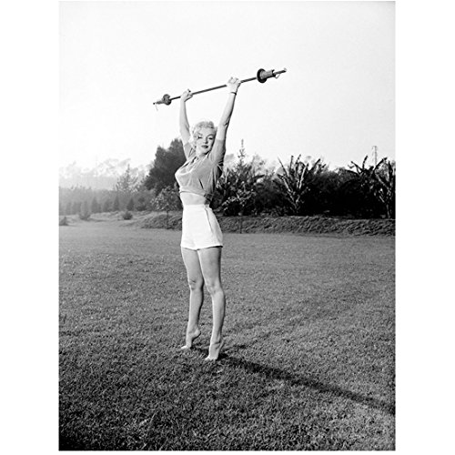 Picture Barbell (Marilyn Monroe Lifting Barbell In Field 8 x 10 Photo)