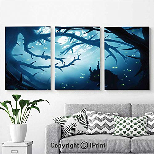 Modern Gallery Wrapped Canvas Print Animal with Burning Eyes in Dark Forest at Night Horror Halloween Illustration 3 Panels Pictures on Canvas Wall Art Ready to Hang for Living Room Kitchen Home Deco ()