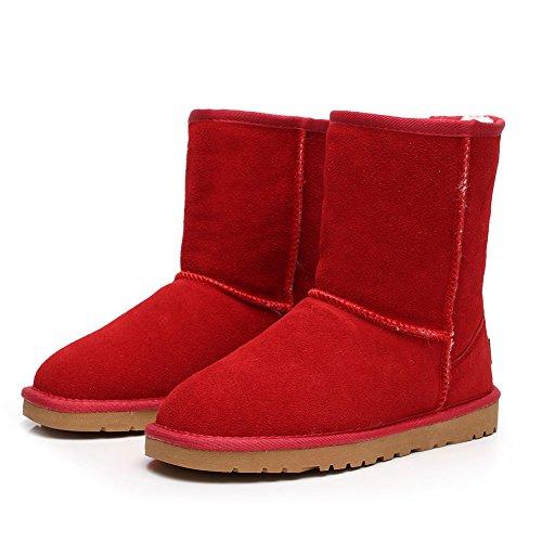 Rojo Cuero Ante Shenn Deslizante Mujer Comodidad Anti Botas Nieve SN1025 TTO1xz