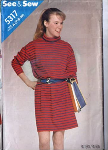 Butterick 5317 Easy Pattern For Stretch Knit Dress With Roll Collar